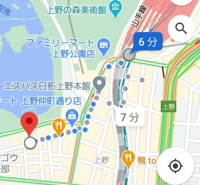 上野駅から上野キャバクラ「蓮れん」のガイド案内図