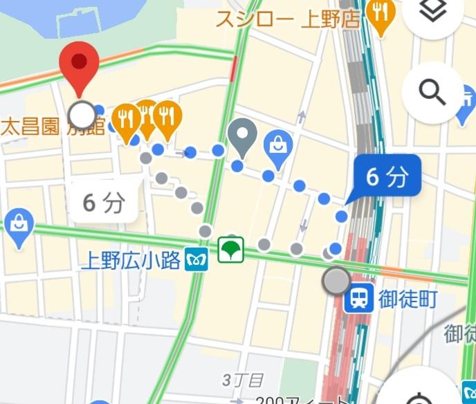 御徒町駅から上野キャバクラ「蓮れん」のガイド案内図